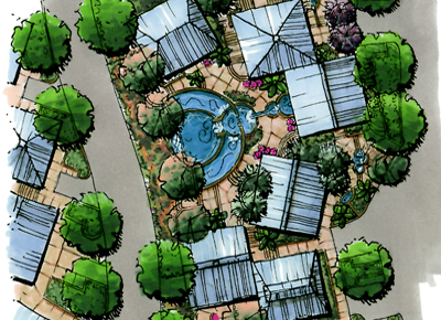 Innovations design group landscape architects for Hotel landscape design